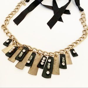 Loft Mixed Media Leather Brass Rhinestone Necklace